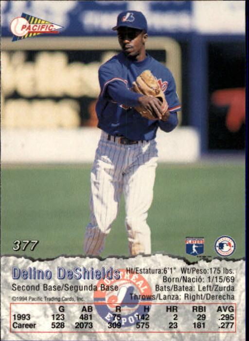 1994 Pacific #377 Delino DeShields back image