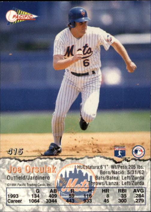 1994 Pacific #415 Joe Orsulak back image