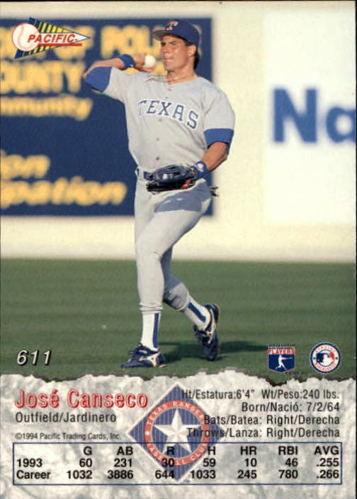1994 Pacific #611 Jose Canseco back image