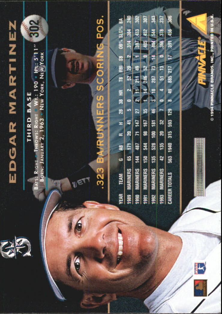 1994 Pinnacle #302 Edgar Martinez back image