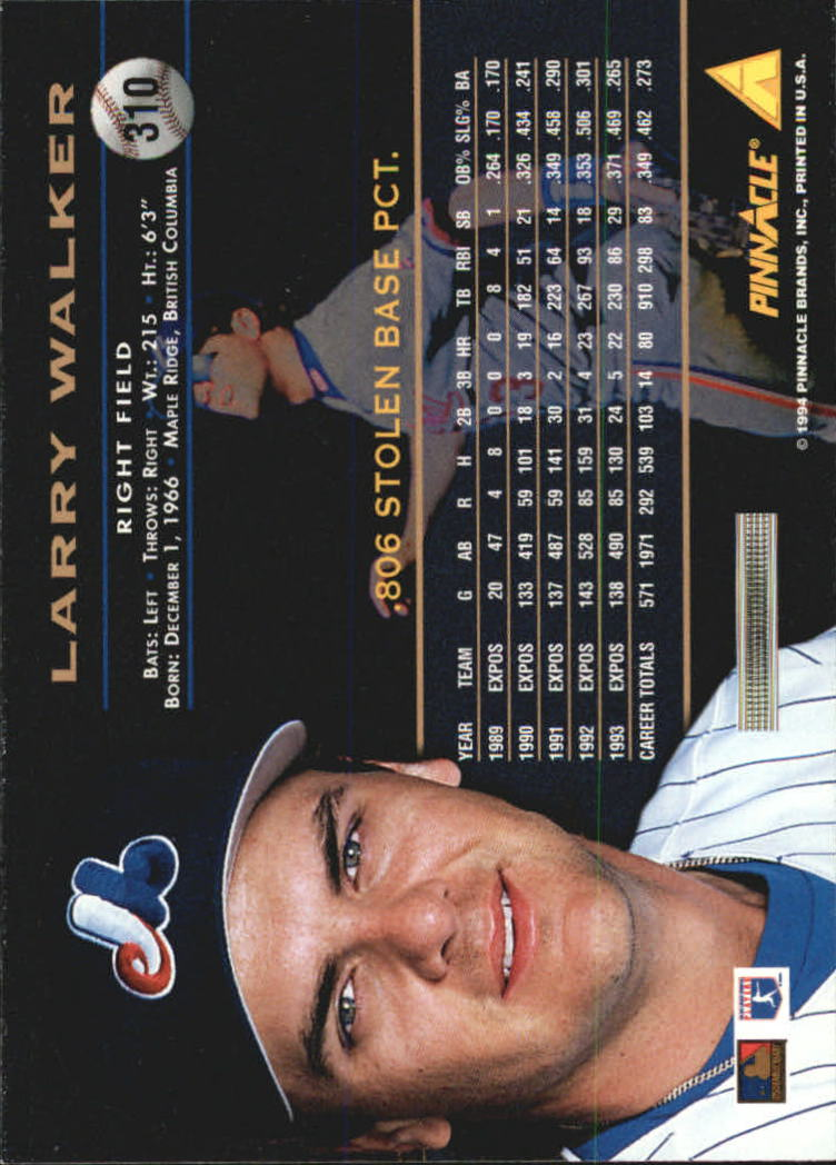 1994 Pinnacle #310 Larry Walker back image