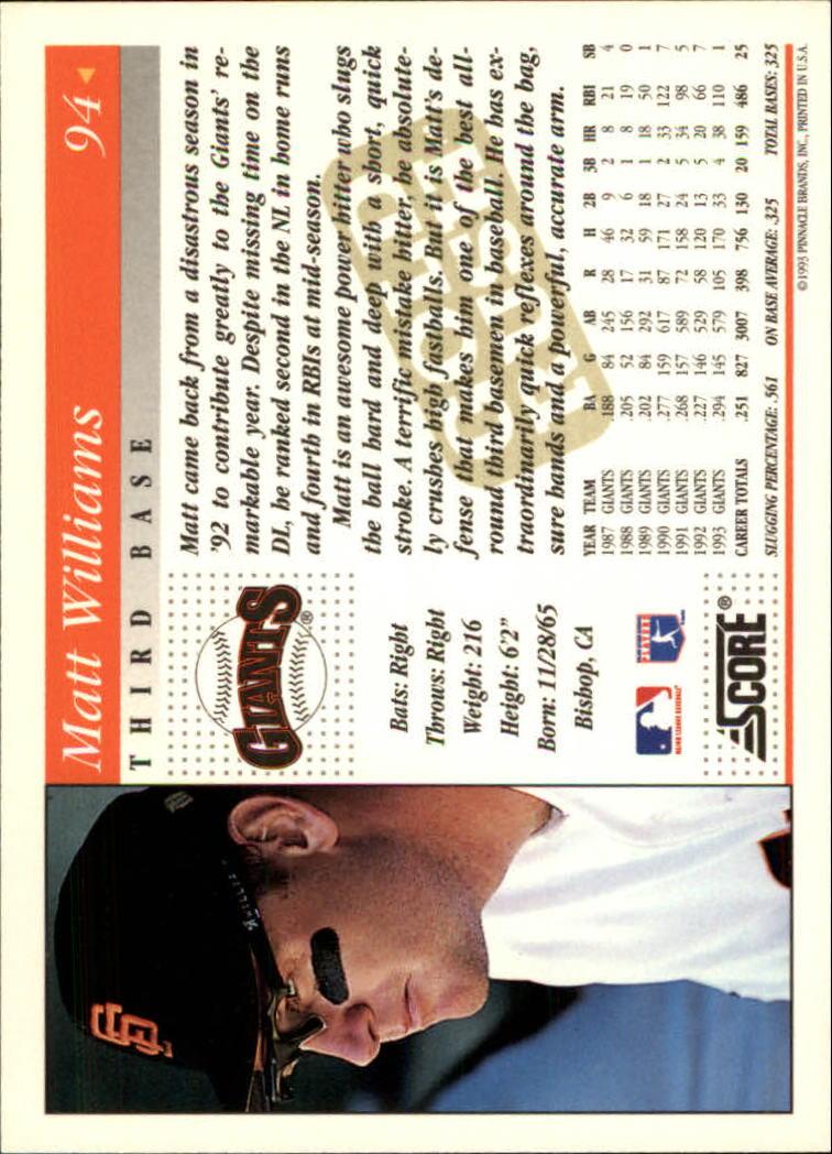 1994 Score Gold Rush #94 Matt Williams back image