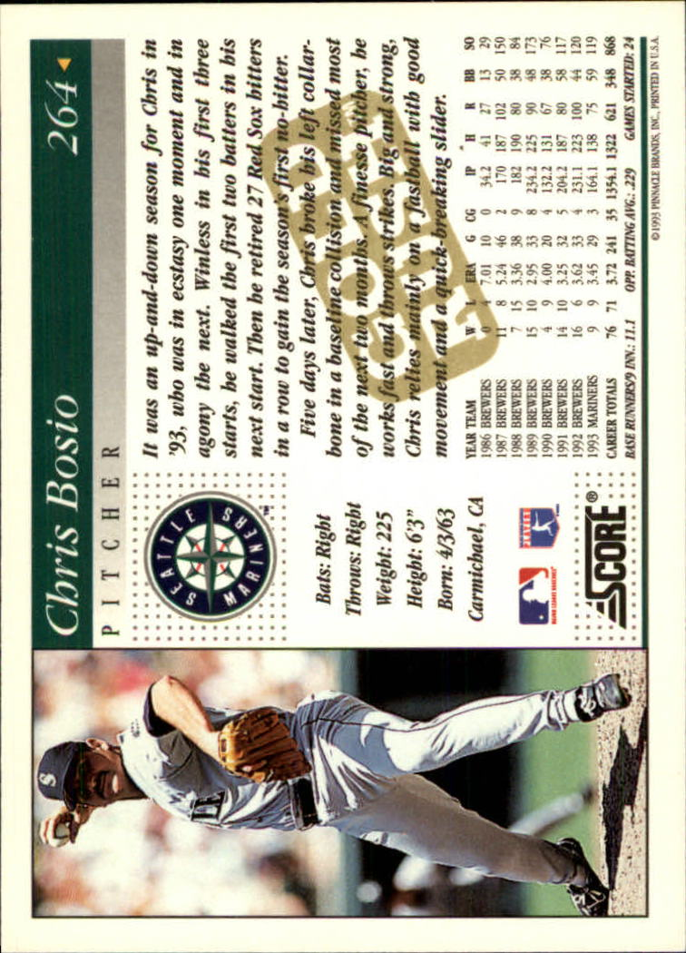1994 Score Gold Rush #264 Chris Bosio back image