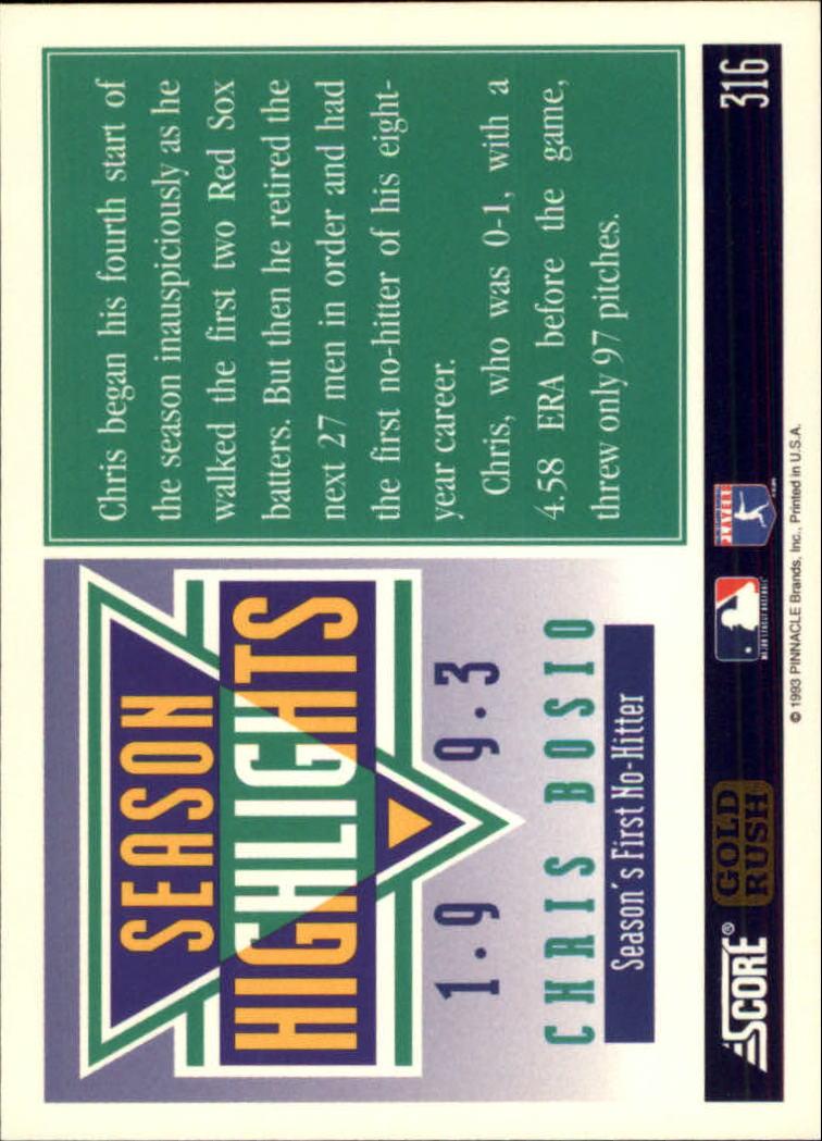 1994 Score Gold Rush #316 Chris Bosio back image