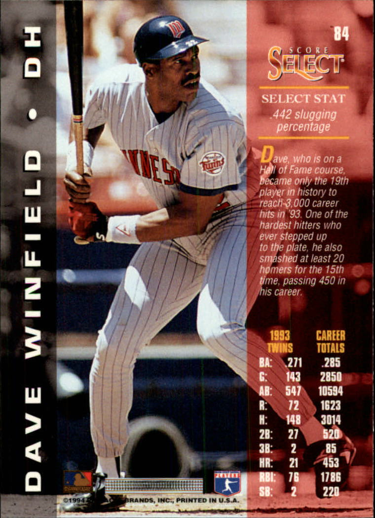 1994 Select #84 Dave Winfield back image