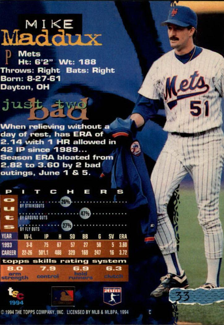 1994 Stadium Club #33 Mike Maddux back image