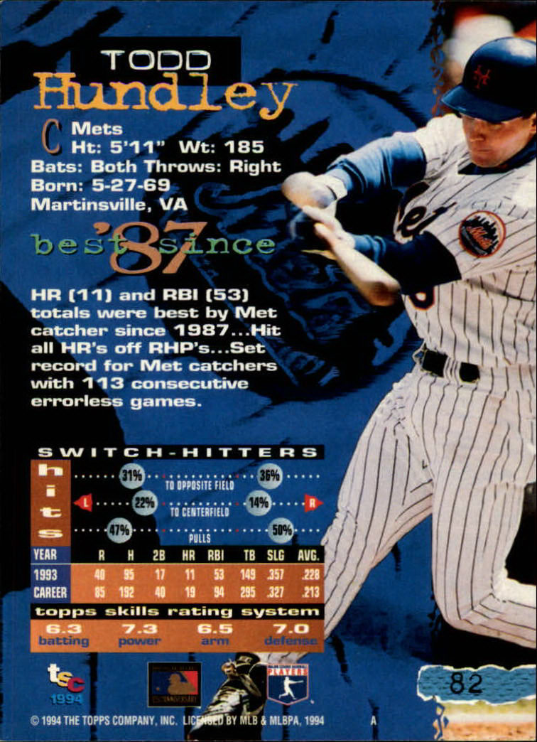 1994 Stadium Club #82 Todd Hundley back image