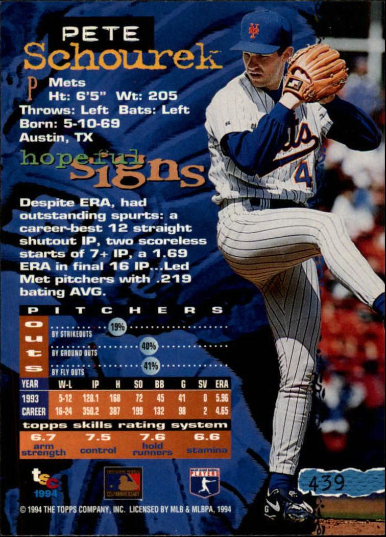 1994 Stadium Club #439 Pete Schourek back image