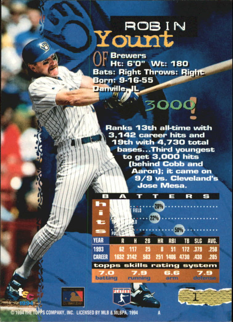 1994 Stadium Club Golden Rainbow #1 Robin Yount back image