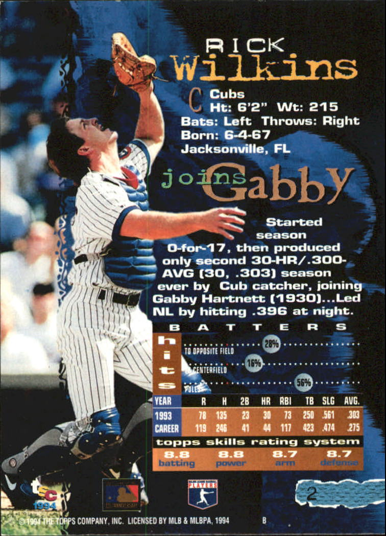 1994 Stadium Club Golden Rainbow #2 Rick Wilkins back image