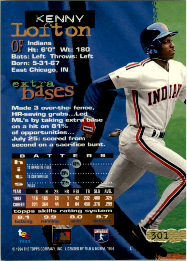 1994 Stadium Club Golden Rainbow #301 Kenny Lofton back image