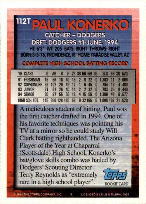 1994 Topps Traded #112T Paul Konerko RC back image