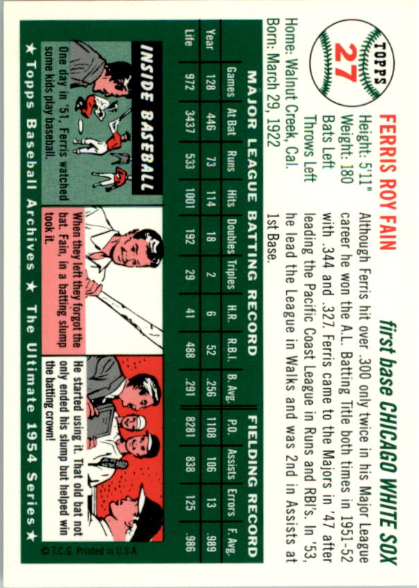 1994 Topps Archives 1954 #27 Ferris Fain back image