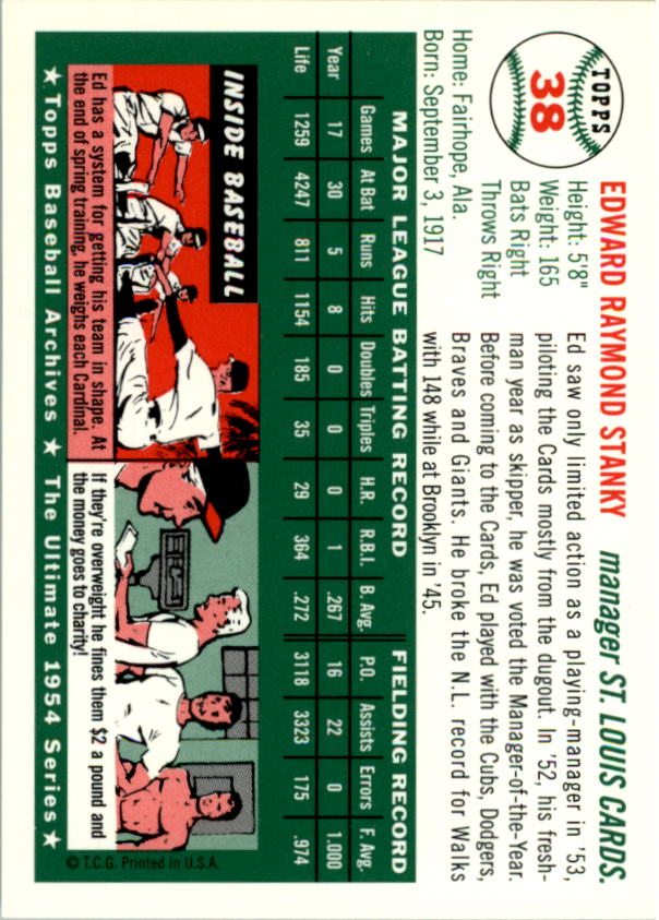 1994 Topps Archives 1954 #38 Eddie Stanky MG back image