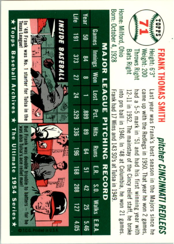 1994 Topps Archives 1954 #71 Frank Smith back image
