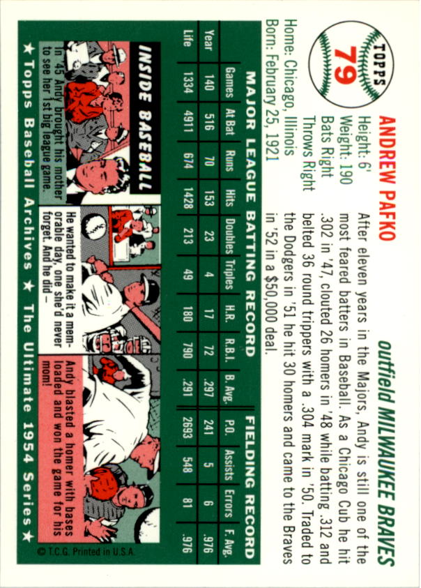 1994 Topps Archives 1954 #79 Andy Pafko back image