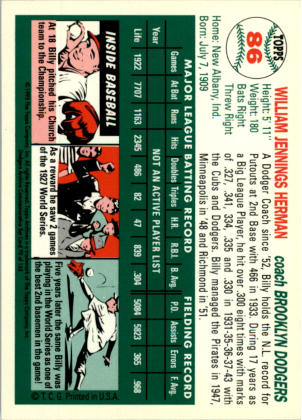 1994 Topps Archives 1954 #86 Billy Herman CO back image