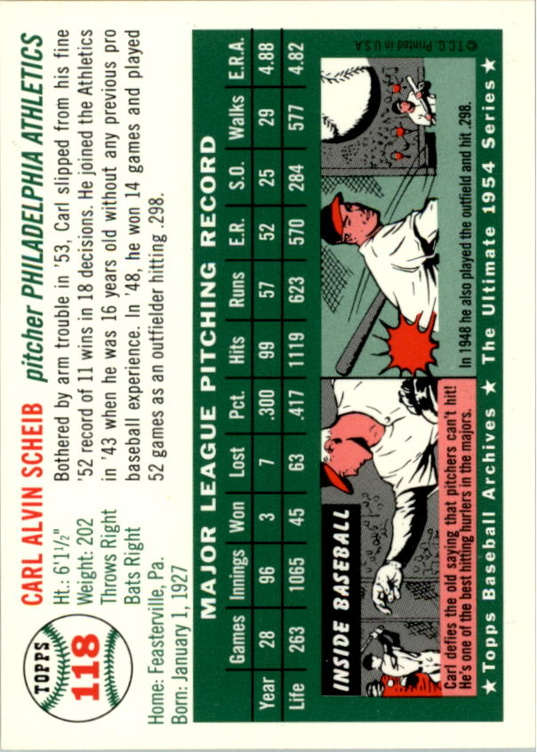 1994 Topps Archives 1954 #118 Carl Scheib back image