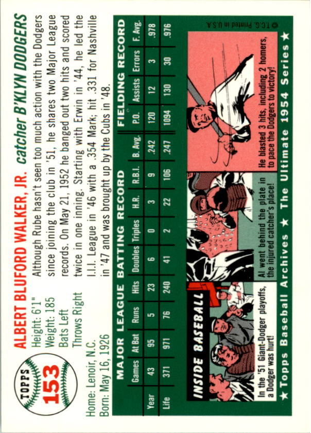 1994 Topps Archives 1954 #153 Rube Walker back image