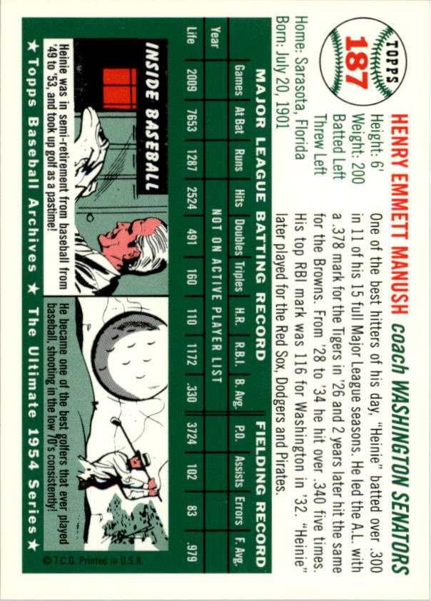 1994 Topps Archives 1954 #187 Heinie Manush CO back image