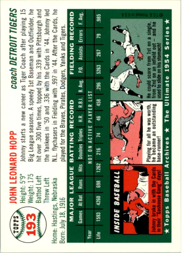 1994 Topps Archives 1954 #193 Johnny Hopp CO back image