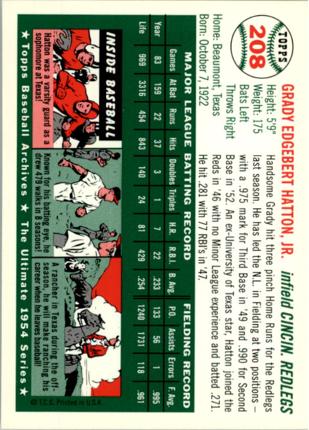 1994 Topps Archives 1954 #208 Grady Hatton back image