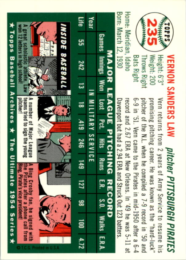 1994 Topps Archives 1954 #235 Vern Law back image