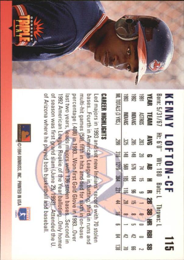 1994 Triple Play #115 Kenny Lofton back image