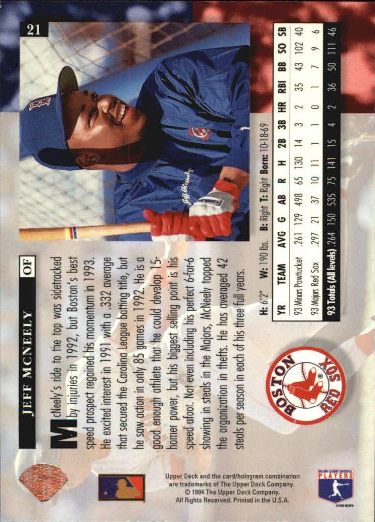 1994 Upper Deck #21 Jeff McNeely back image
