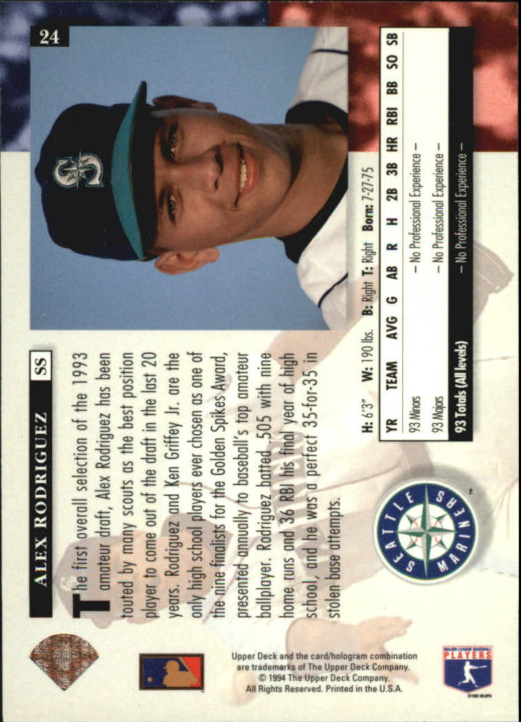 1994 Upper Deck #24 Alex Rodriguez RC back image