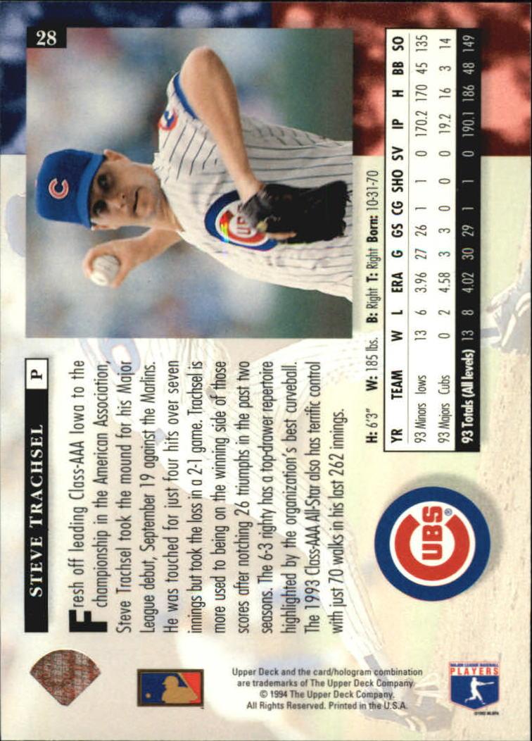 1994 Upper Deck #28 Steve Trachsel back image