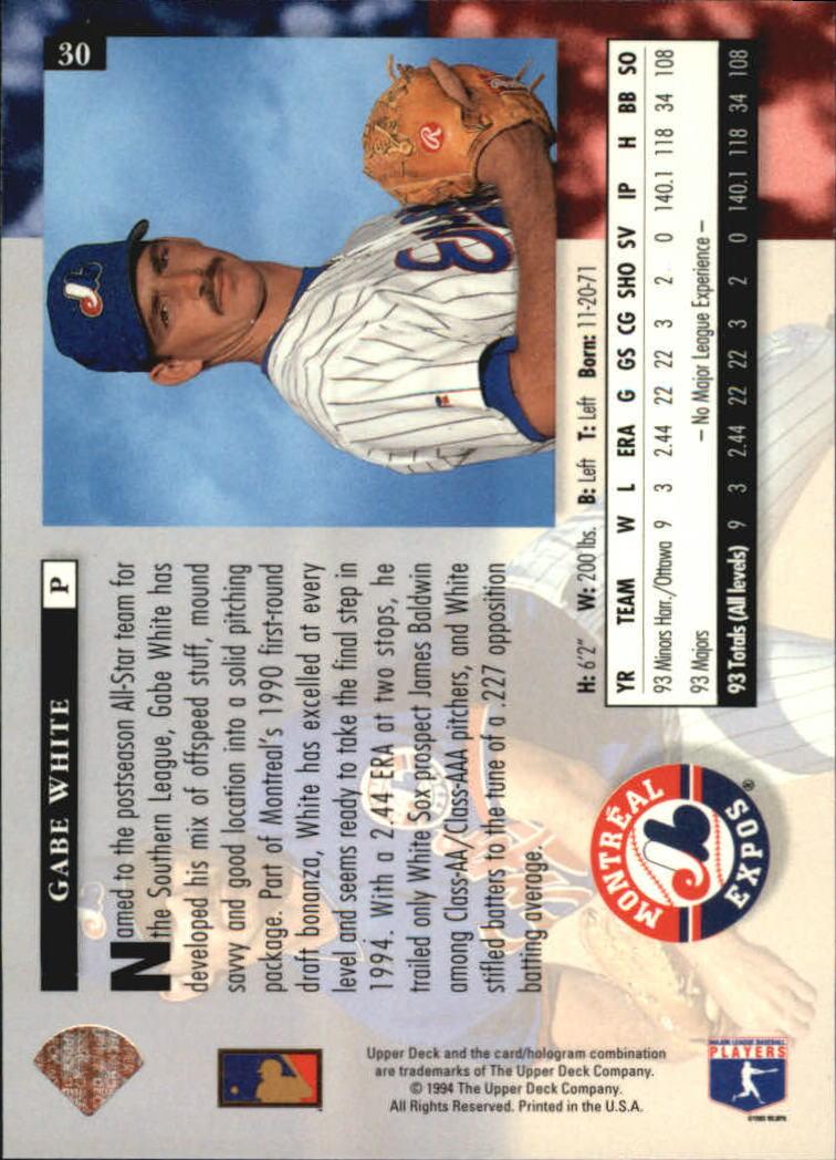 1994 Upper Deck #30 Gabe White back image