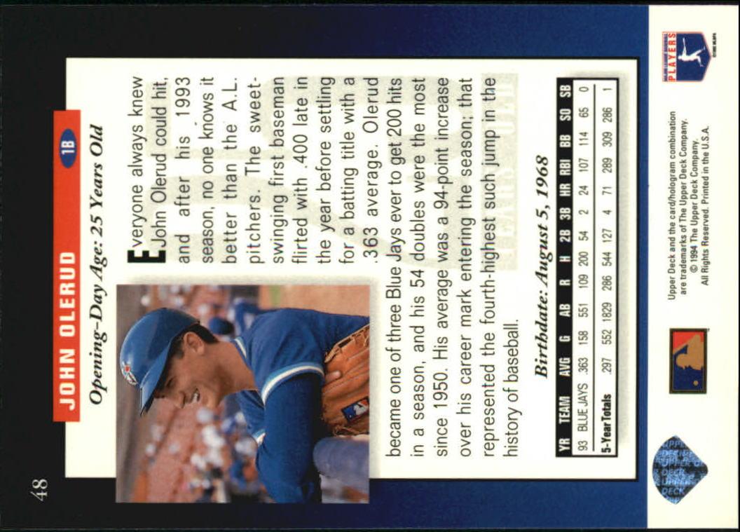 1994 Upper Deck #48 John Olerud FUT back image