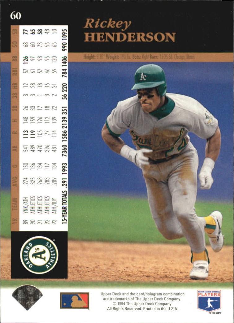 1994 Upper Deck #60 Rickey Henderson back image