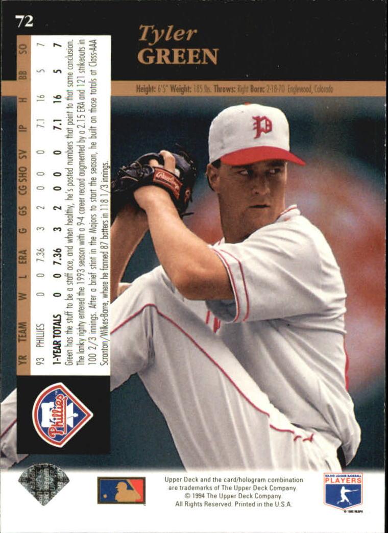 1994 Upper Deck #72 Tyler Green back image