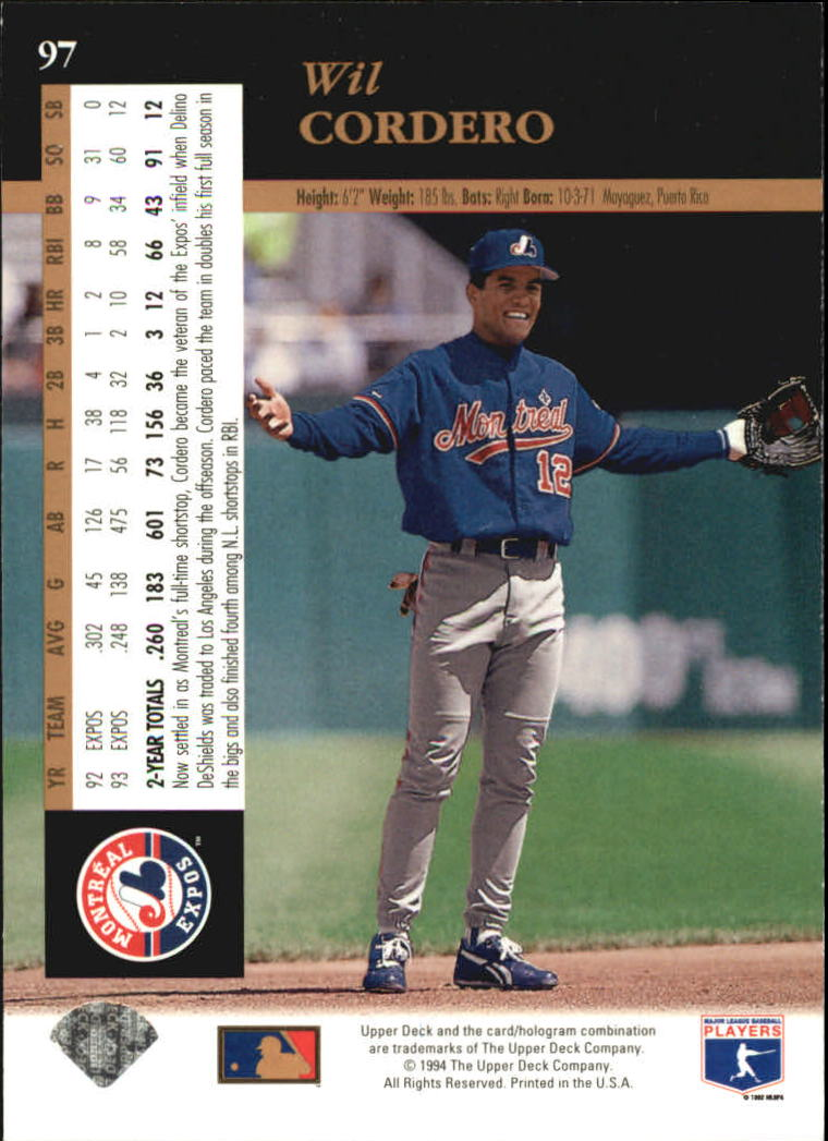 1994 Upper Deck #97 Wil Cordero back image