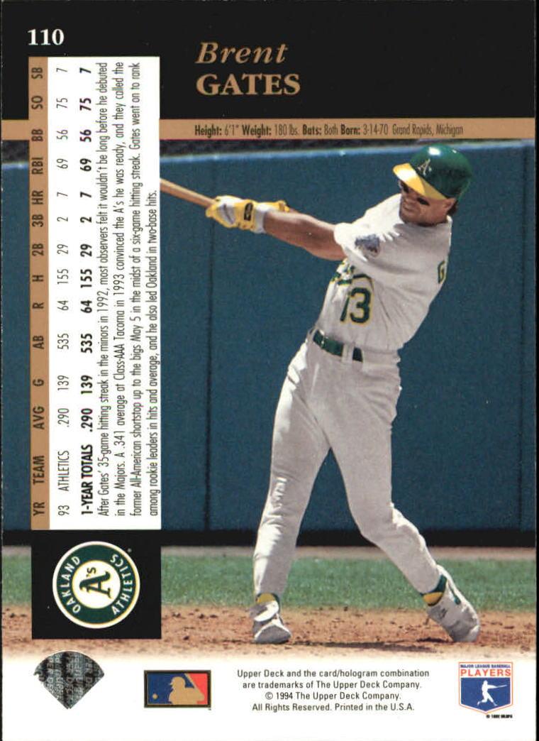1994 Upper Deck #110 Brent Gates back image