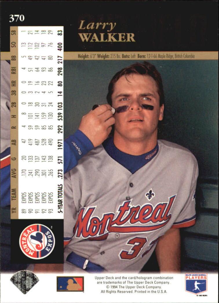 1994 Upper Deck #370 Larry Walker back image