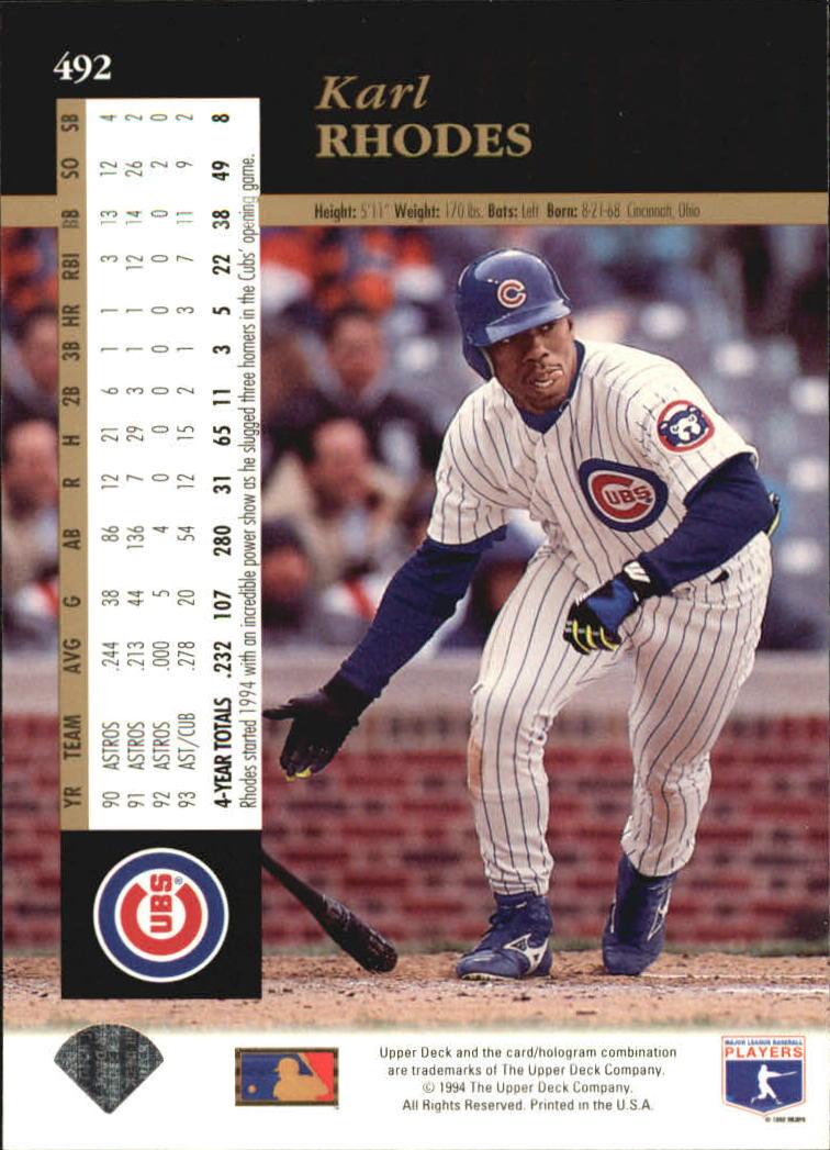 1994 Upper Deck #492 Karl Rhodes back image