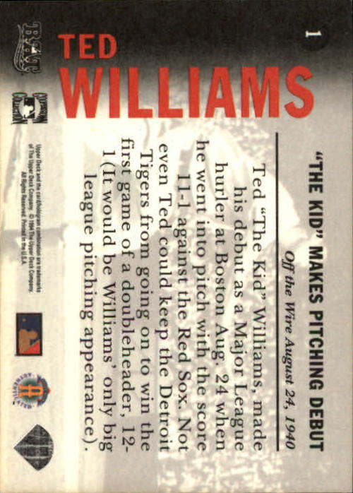 1994 Upper Deck All-Time Heroes #1 Ted Williams OW back image