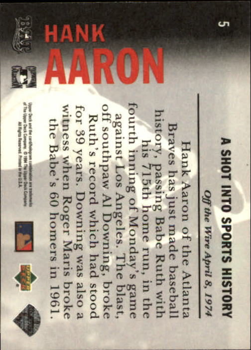 1994 Upper Deck All-Time Heroes #5 Hank Aaron OW back image