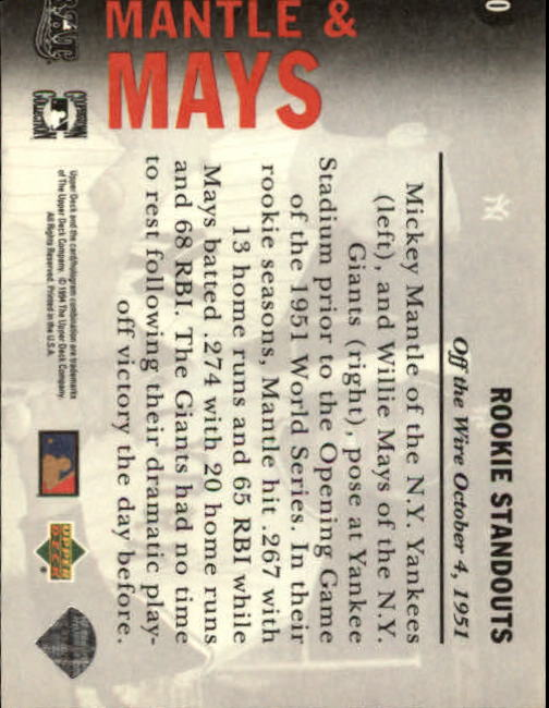 1994 Upper Deck All-Time Heroes #10 W.Mays/M.Mantle OW back image