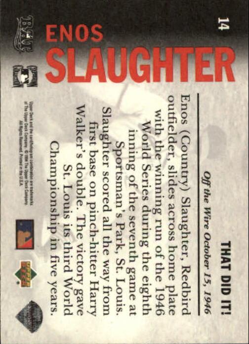 1994 Upper Deck All-Time Heroes #14 Enos Slaughter OW back image