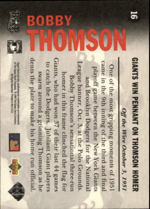 1994 Upper Deck All-Time Heroes #16 Bobby Thomson OW back image