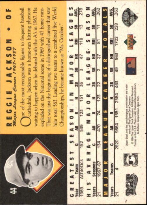 1994 Upper Deck All-Time Heroes #44 Reggie Jackson back image