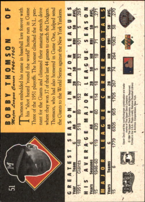 1994 Upper Deck All-Time Heroes #51 Bobby Thomson back image