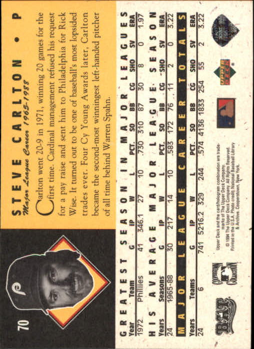 1994 Upper Deck All-Time Heroes #70 Steve Carlton back image