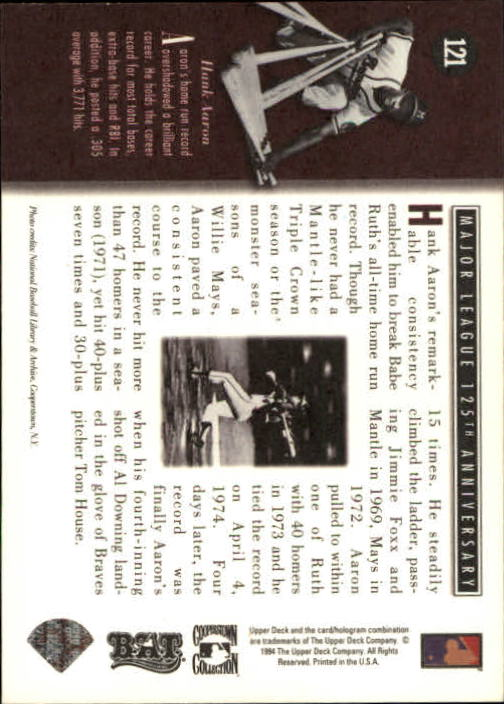 1994 Upper Deck All-Time Heroes #121 Hank Aaron ATH back image