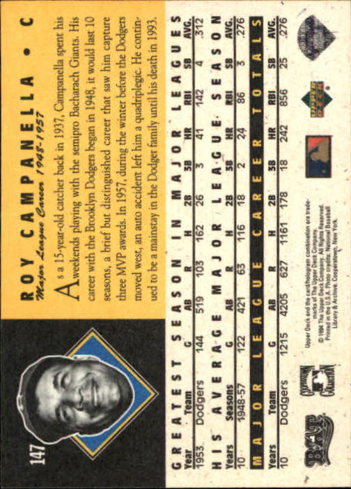 1994 Upper Deck All-Time Heroes #147 Roy Campanella back image