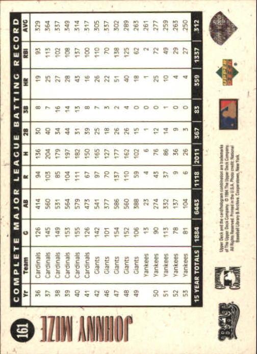 1994 Upper Deck All-Time Heroes #161 Johnny Mize LGD back image